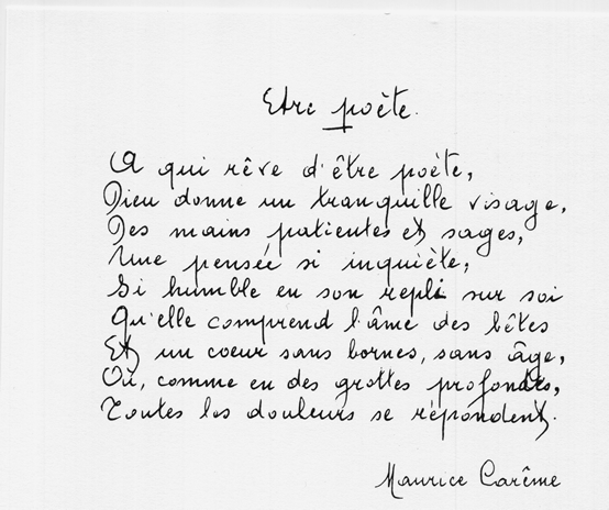 Maurice Carême: Etre poète