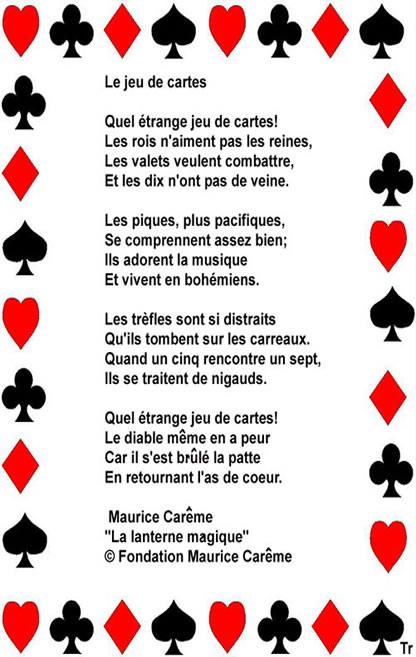 Le jeu de cartes - Maurice Carême
